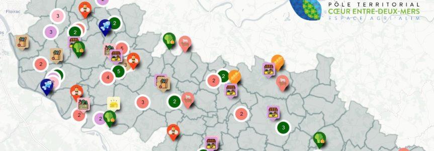 Une carte qui recense tous les producteurs locaux sur le Cœur Entre-deux-Mers
